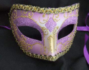Gents Venetian style Purple Glitter Mask